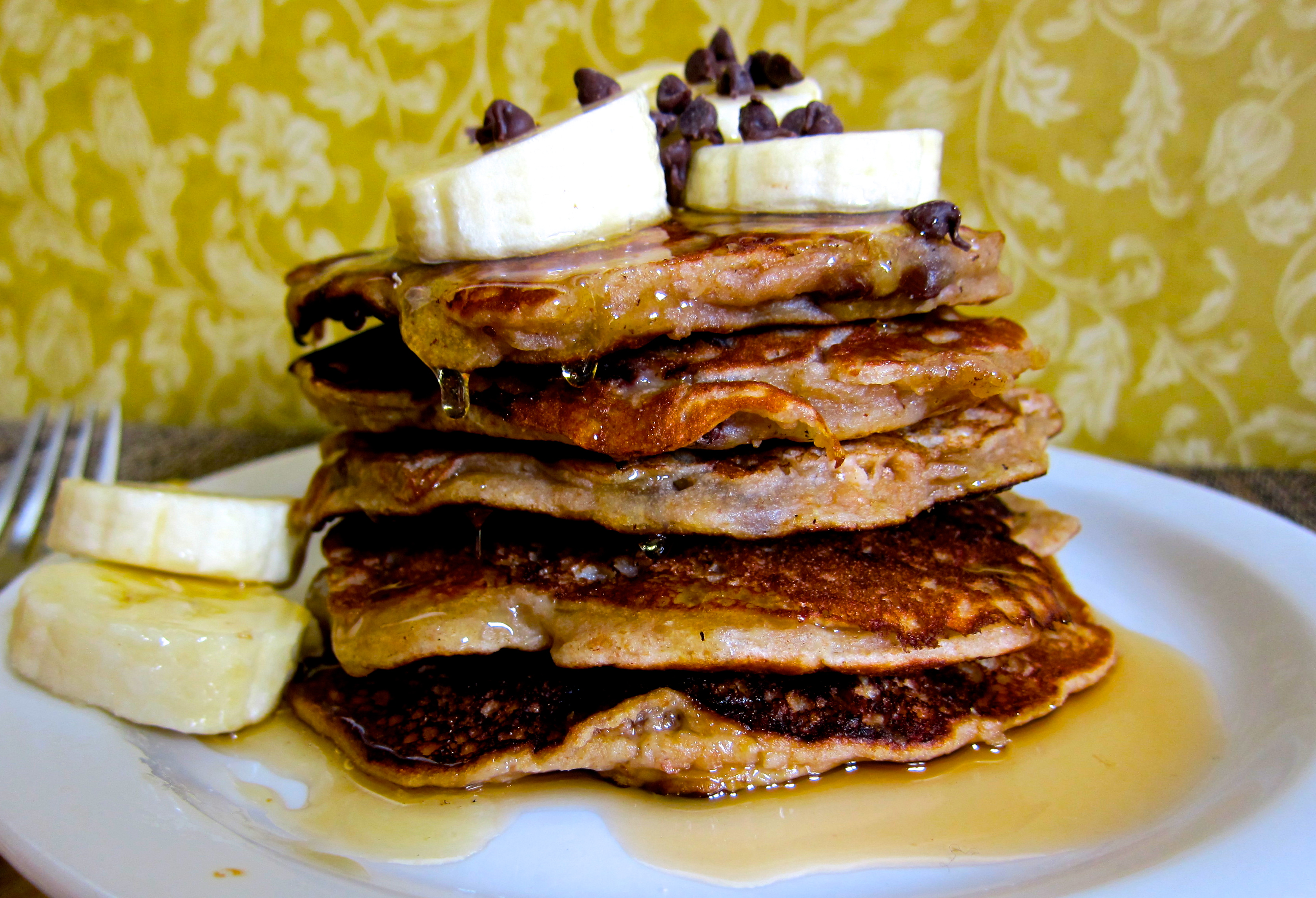 Whole Wheat Banana Walnut Chocolate Chip Pancakes |